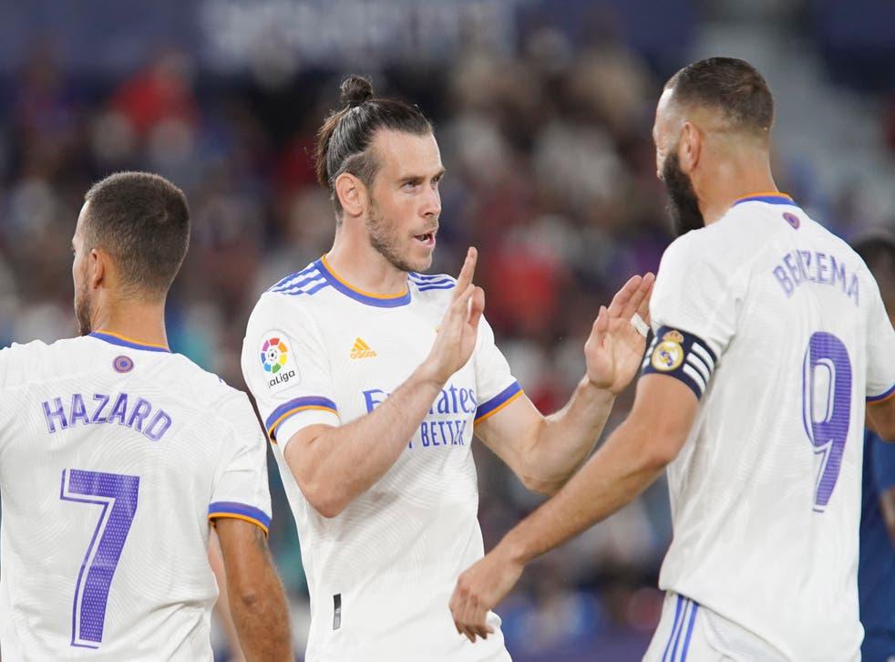 Bale, centre, scored against Levante at the weekend (AP Photo/Alberto Saiz)