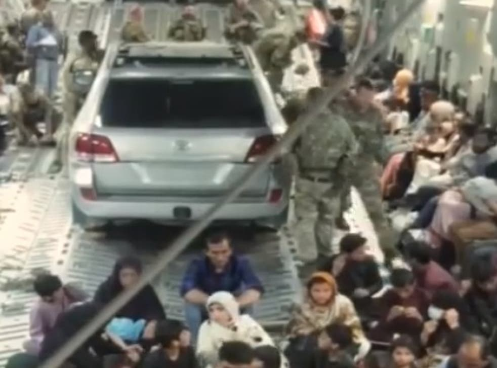 <p>Footage shows car onboard military aircraft </p>