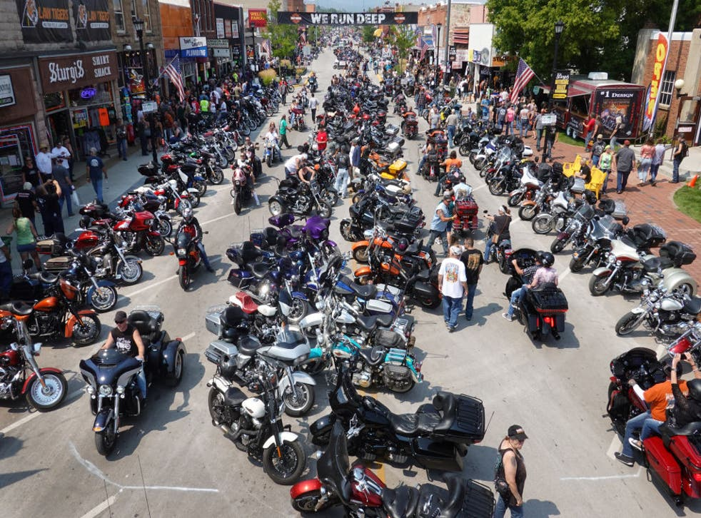 <p>Motorcycle enthusiasts attend the 81st annual Sturgis Motorcycle Rally on 8 August, 2021</p>