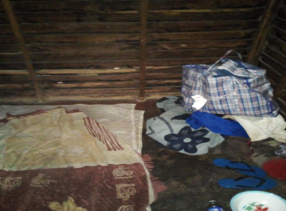 <p>The Zimbabwean national sent<em> The Independent</em> a photograph of the shed where he is sleeping </p>