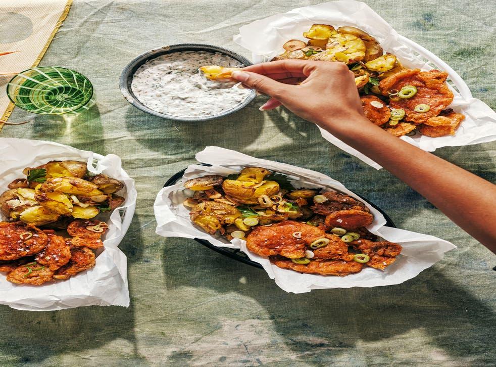 <p>Cajun battered oyster mushrooms with garlic crushed potatoes </p>
