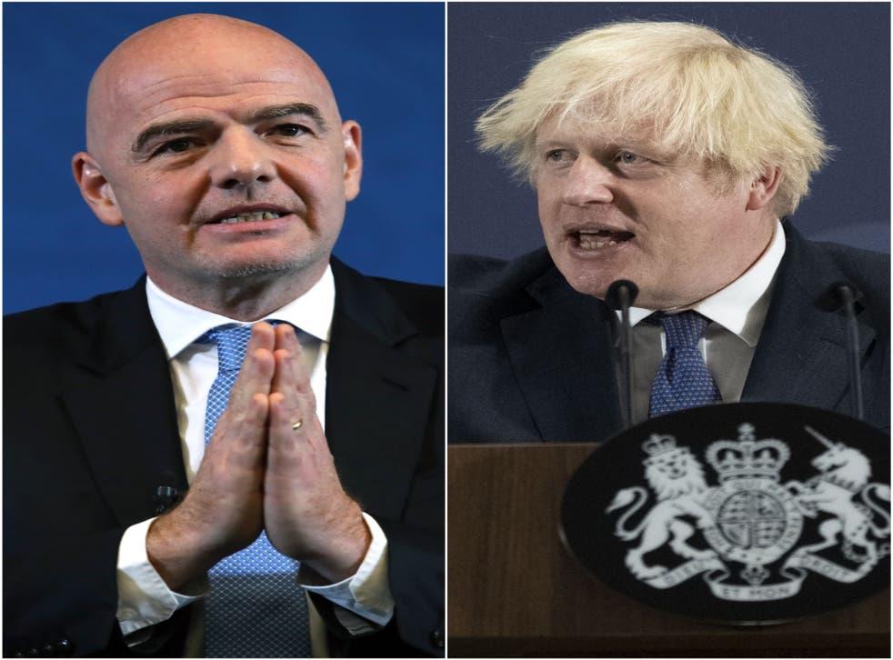 Gianni Infantino has written to Boris Johnson over player quarantine exemptions (PA)