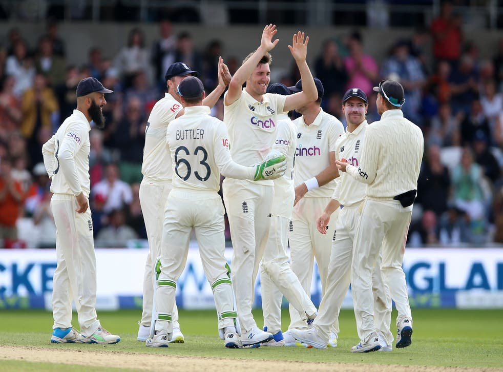 England celebrate the wicket of Rohit Sharma (Nigel French/PA)