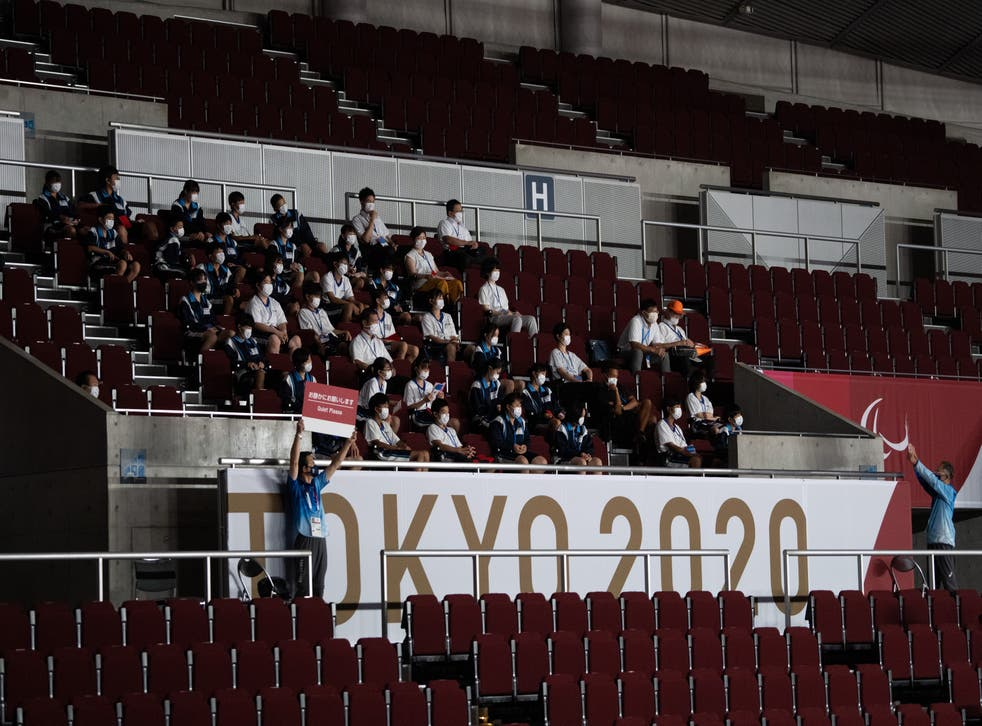 <p>File: School children watch the men's Goalball group stage competition on the first day of the Tokyo Paralympics</p>