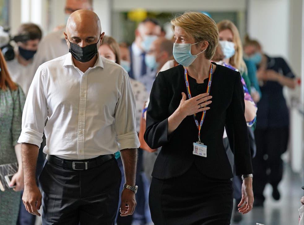 <p>Amanda Pritchard on a visit to a hospital with health secretary Sajid Javid </p>