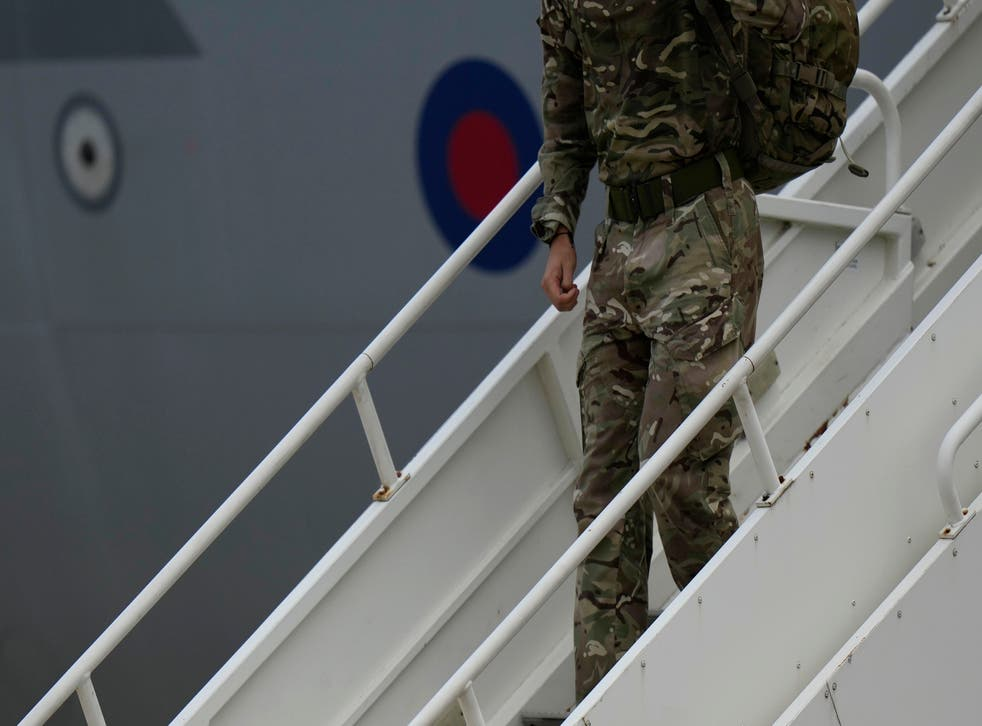 <p>A member of the British armed forces  disembarks an RAF Voyager aircraft at Brize Norton as they return from helping in operations to evacuate people from Kabul airport</p>