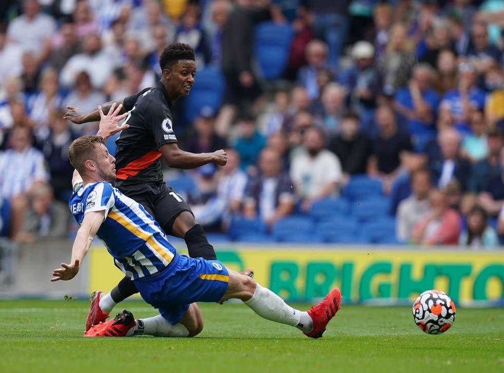 Demarai Gray (right) scores Everton's opener (Gareth Fuller/PA)