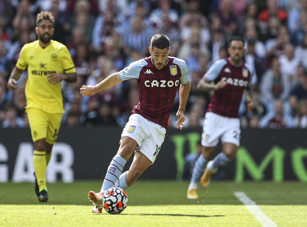 Emi Buendia scores his first Aston Villa goal to earn a point against Brentford. (Barrington Coombs/PA)