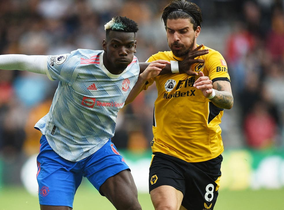 <p>Paul Pogba and Ruben Neves were involved in the incident shortly before the game's only goal  </p>
