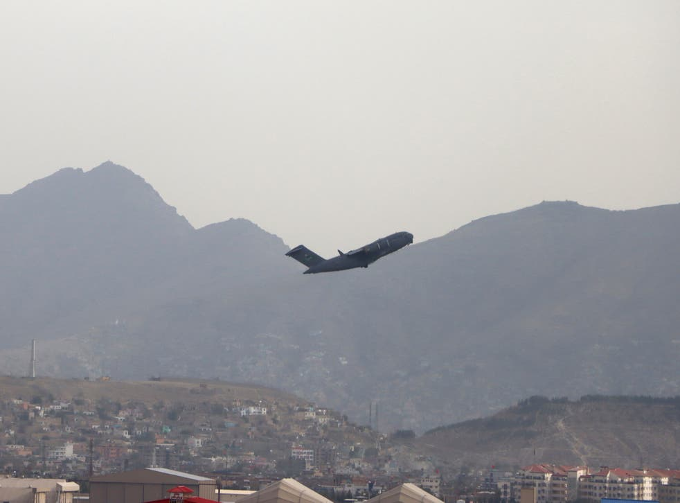 <p>A US military aircraft takes off from the Hamid Karzai International Airport in Kabul on Monday </p>