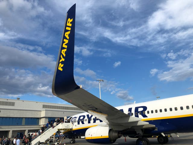<p>A Ryanair Boeing 737 pictured at Athens airport   </p>