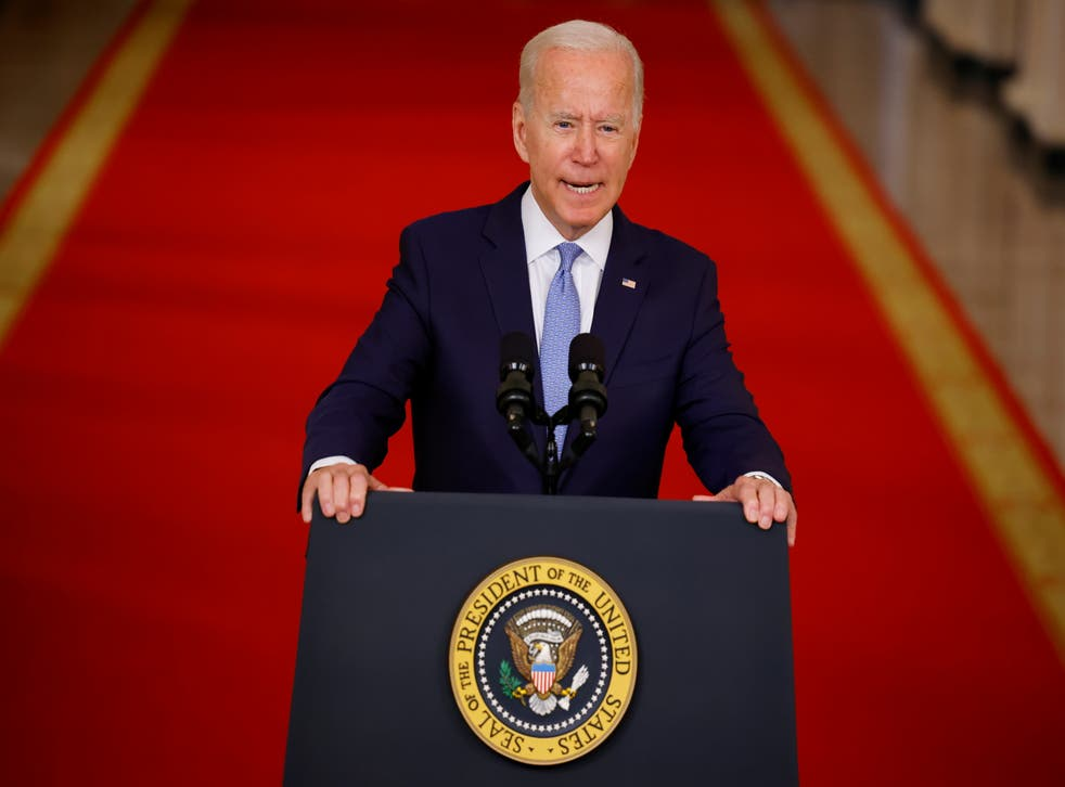 <p>US President Joe Biden delivers remarks on Afghanistan during a speech in the State Dining Room at the White House</p>