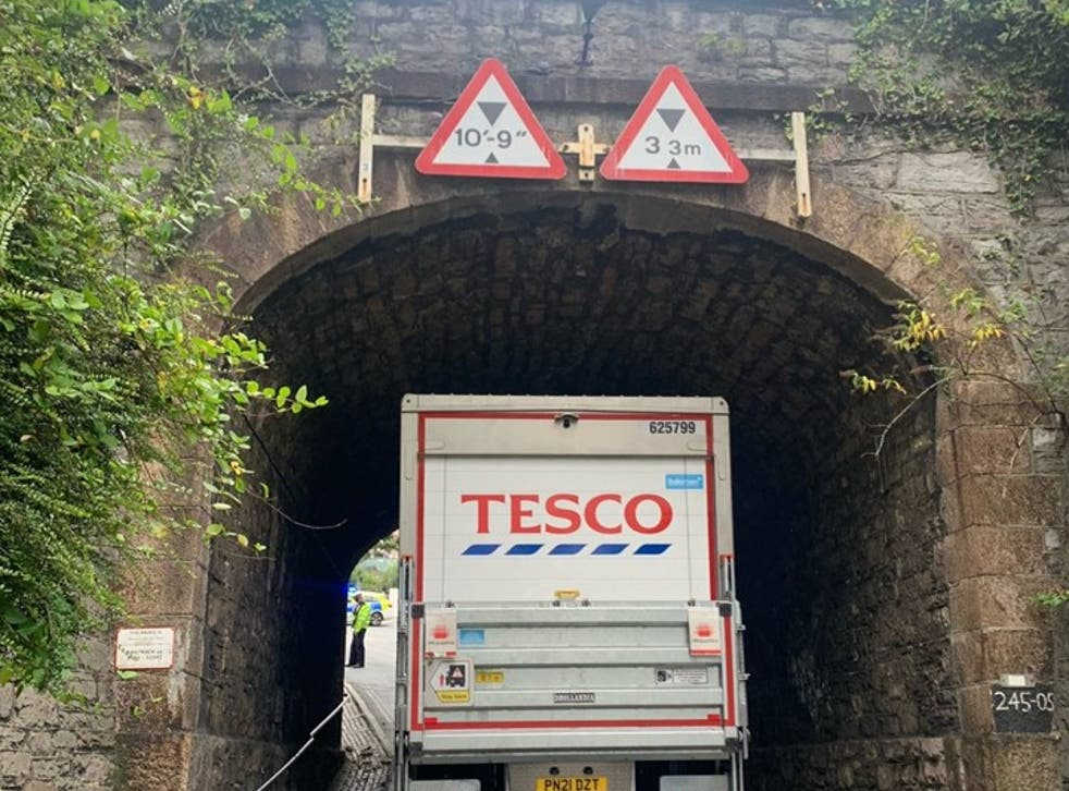 <p>One strike: the refrigerated lorry that hit a bridge in Plymouth, blocking the main rail line in Devon and Cornwall</p>