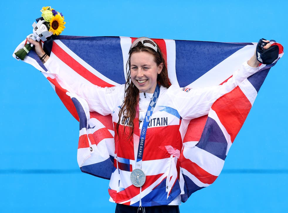 <p>Georgia Taylor-Brown celebrates her silver medal in the women's triathlon </p>