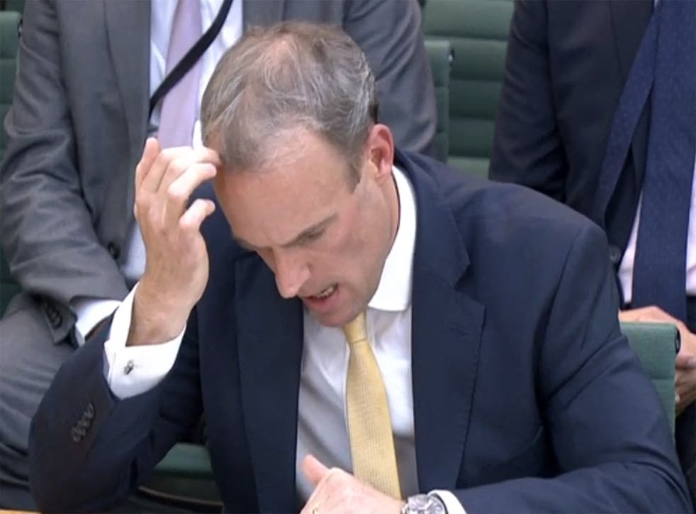 <p>Head scratcher: Raab is questioned on Wednesday </p>