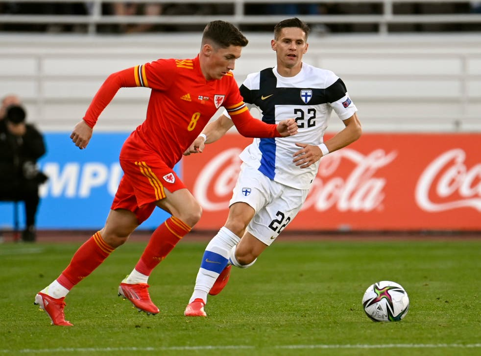 Harry Wilson (left) saw his first-half penalty saved in Wales' 0-0 draw against Cardiff (Antti Aimo-Koivisto/Lehtikuva via AP)