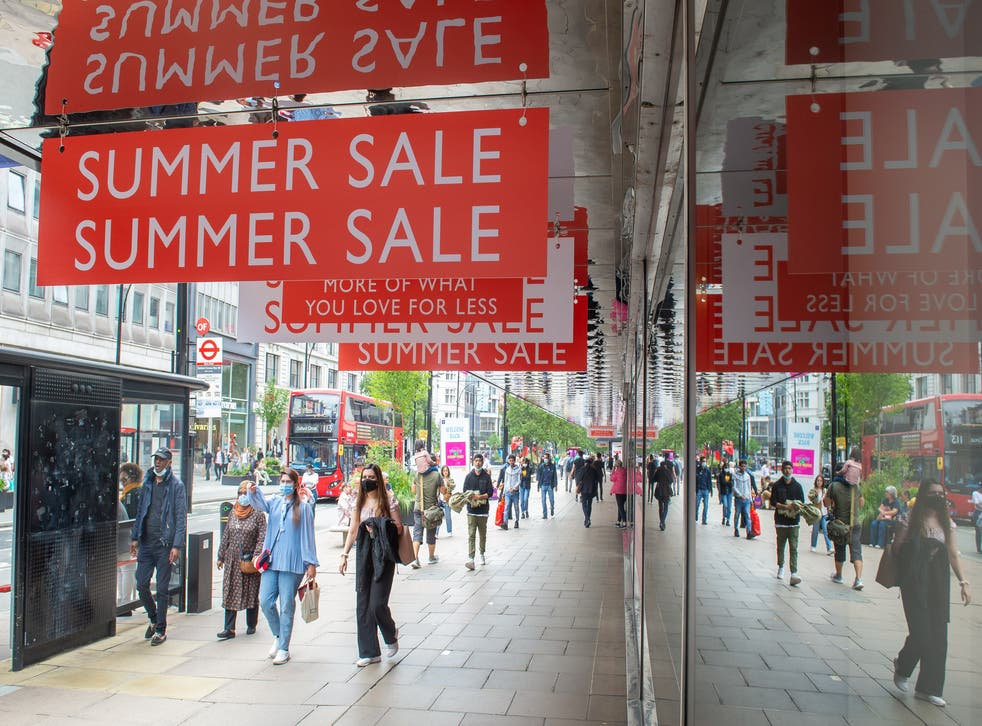 Pedestrians on Oxford Street, London. Shopper footfall continued to improve in August, according to new figures (Dominic Lipinski/PA)