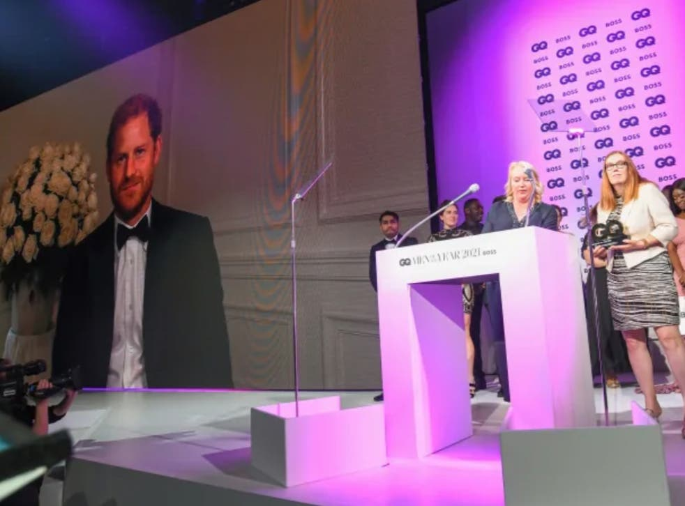 <p>Prince Harry appears by videolink at Tuesday's GQ Awards</p>
