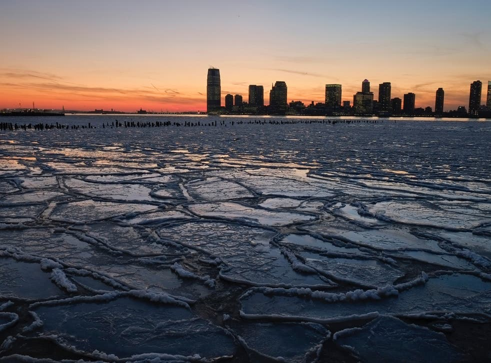 <p>Ice floes fill the Hudson River in 2014 during a cold snap caused by the stratospheric polar vortex</p>