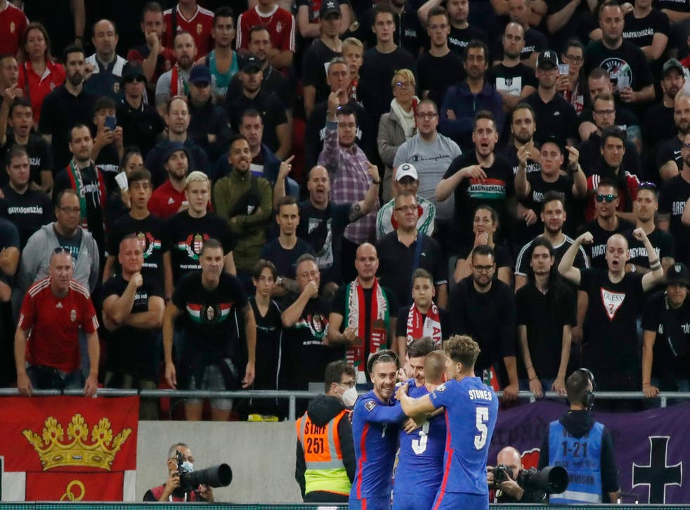 <p>Hungary fans abuse England players after their third goal</p>