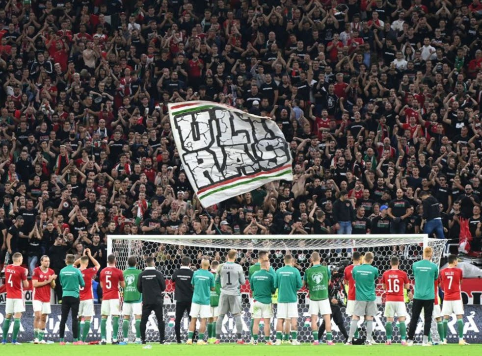<p>Hungary's fans react at the full-time whistle after Thursday's World Cup qualifying match against England in Budapest </p>