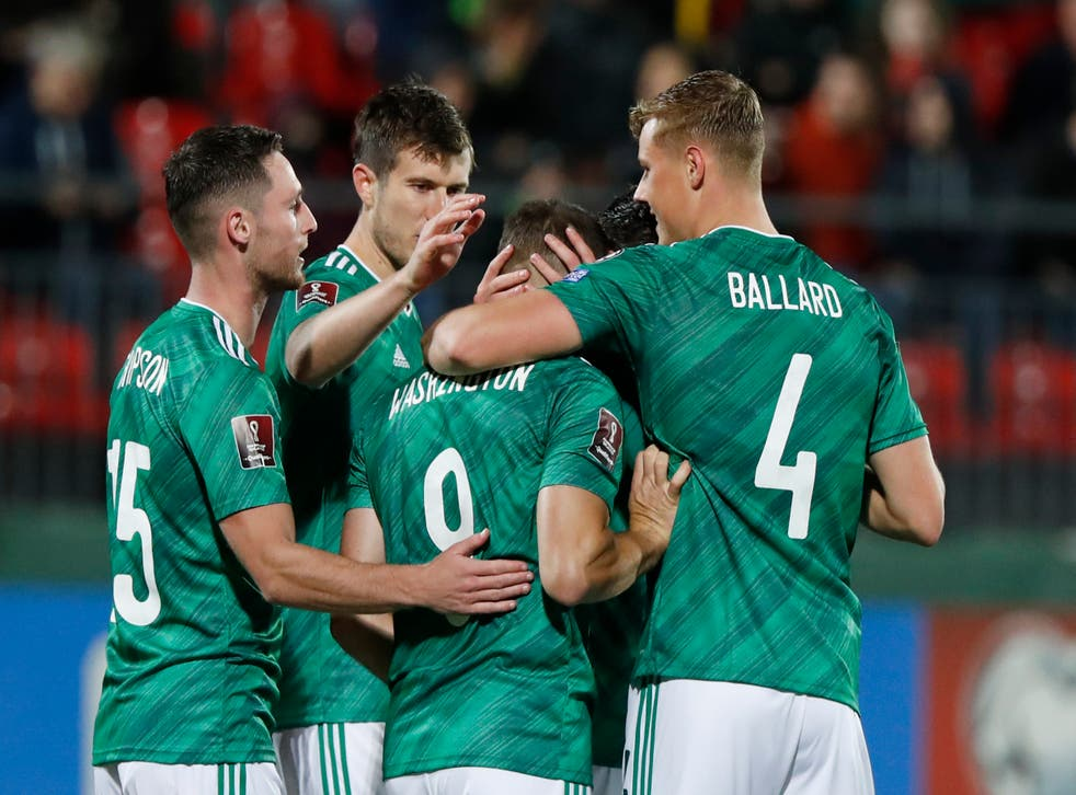 <p>Northern Ireland celebrate their 4-1 win over Lithuania  </p>