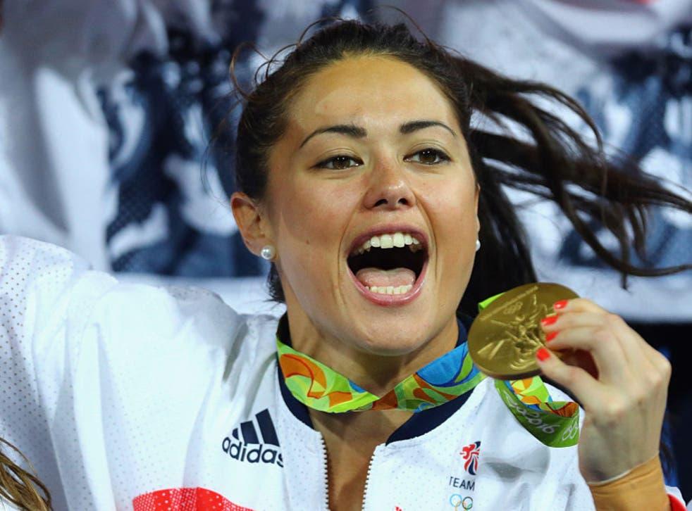 <p>Samantha Quek  celebrates winning gold at Rio 2016</p>