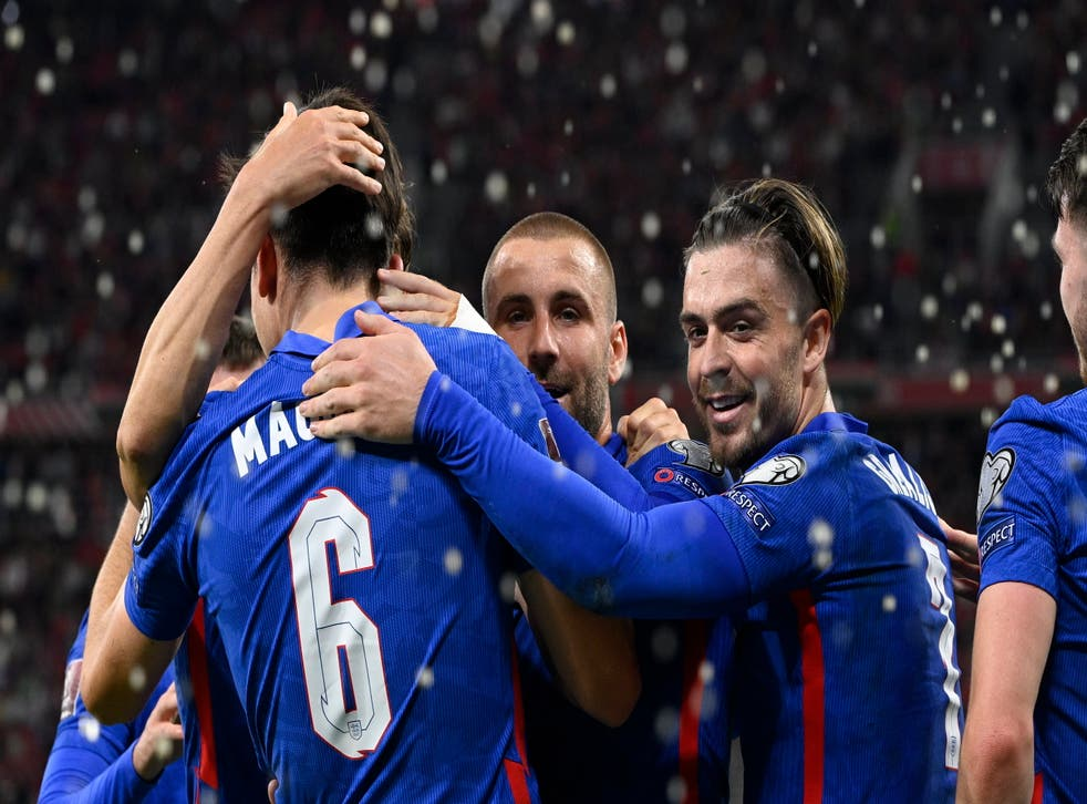 <p>Jack Grealish (right) and England celebrated a 4-0 win on Thursday night (Zsolt Szigetvar/AP)</p>