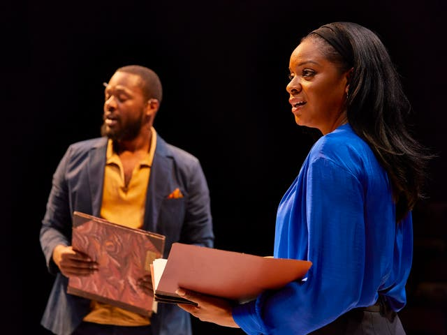 <p>Luke Wilson and Kiza Deen in 'Rockets and Blue Lights' at the National Theatre</p>