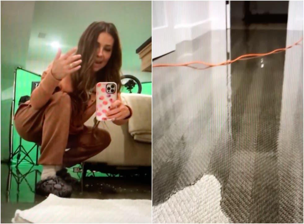 """<p>""""Me da risa de la f*cking angustia"""", confesó Thalía mientras mostraba a sus fanáticos la cantidad de agua que se había filtrado en un cuarto.</p>"""