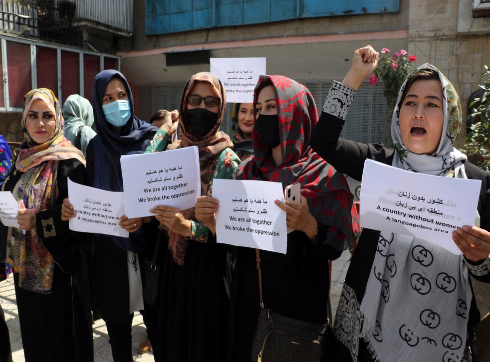 <p>Women in Kabul have been protesting for two days to demand that the Taliban respects their rights </p>