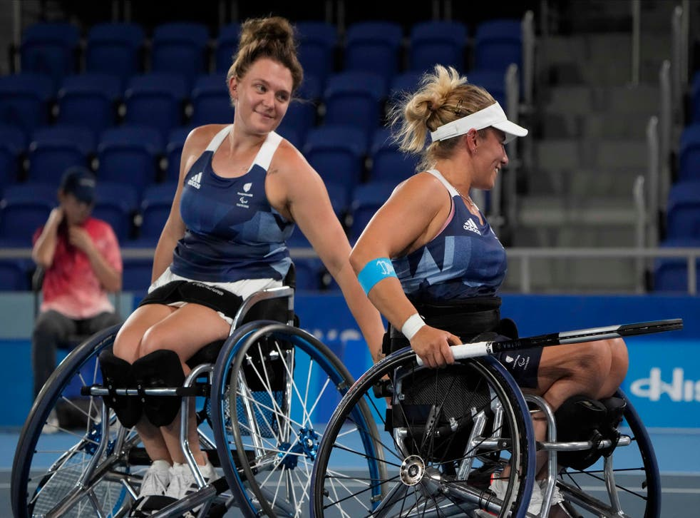 <p>Wheelchair tennis pair Jordanne Whiley, left, and Lucy Shuker won silver</p>