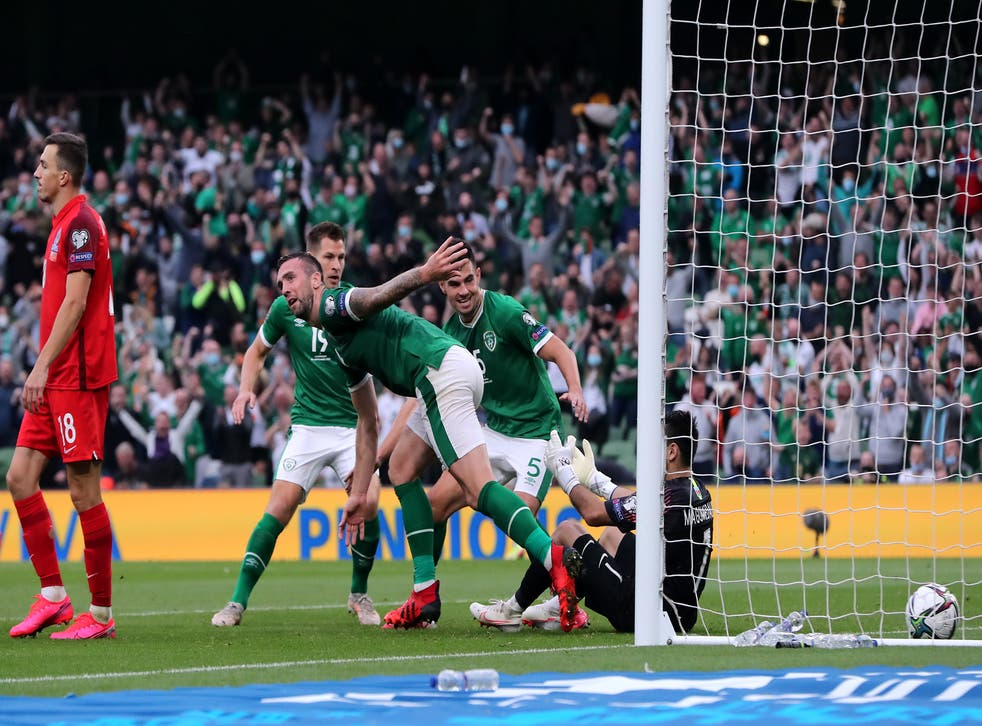 Shane Duffy celebrates scoring Ireland's equaliser (Niall Carson/PA)