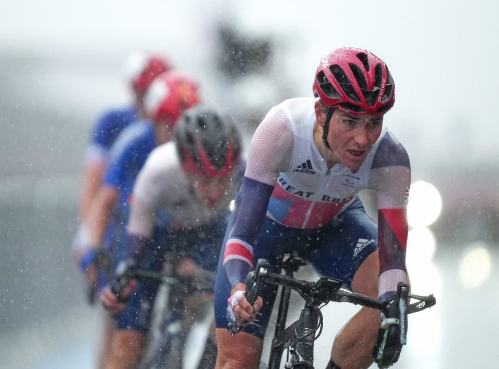Dame Sarah Storey battled torrential rain to become Great Britain's most successful Paralympian (Tim Goode/PA)