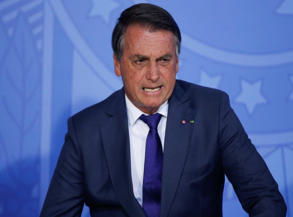 <p>Brazil's President Jair Bolsonaro speaks during a ceremony in Brasilia</p>