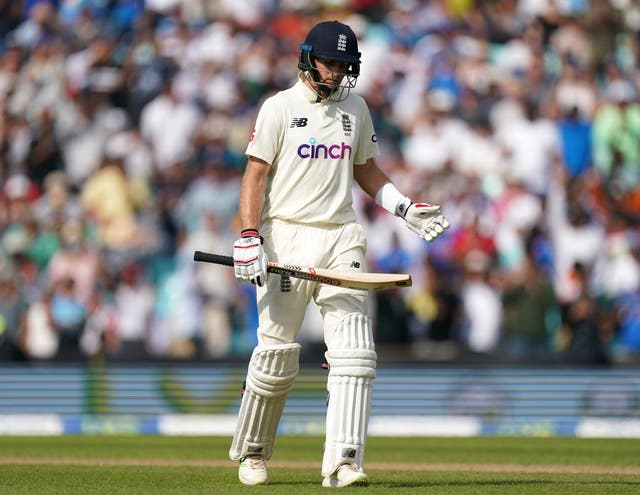 <p>England's Joe Root reacts after being bowled out by India's Shardul Thakur (Adam Davy/PA)</p>