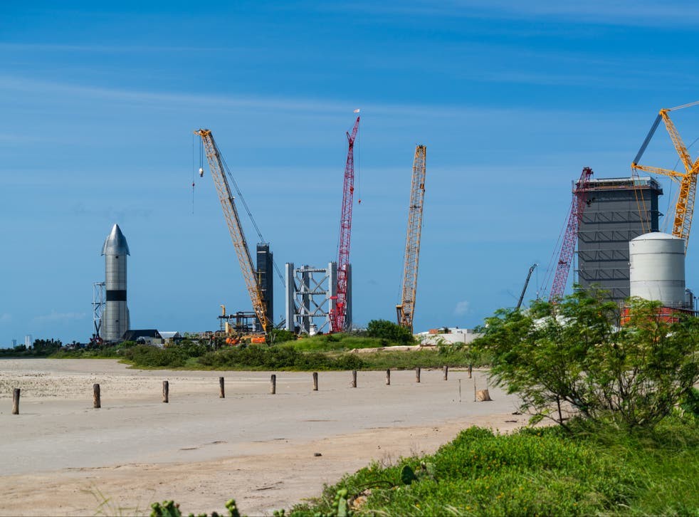 <p>The SpaceX launch site at Boca Chica, Texas</p>
