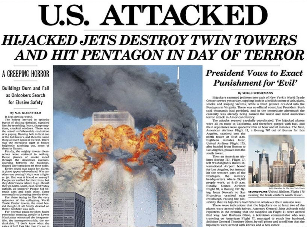 <p>The New York Times' front page on 12 September, 2001 was crammed with photos and details of the previous day's horror</p>