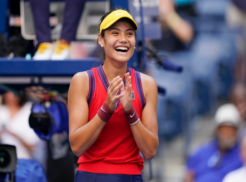 Emma Raducanu has reached the last eight of the US Open without dropping a set (Seth Wenig/AP)