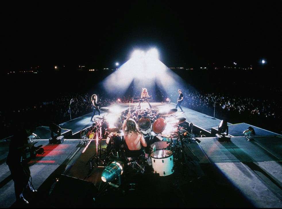 <p>Metallica (L-R) Kirk Hammett, Lars Ulrich(back to camera) James Hetfield, Jason Newsted on the Nowhere Else to Roam tour, 1993 </p>