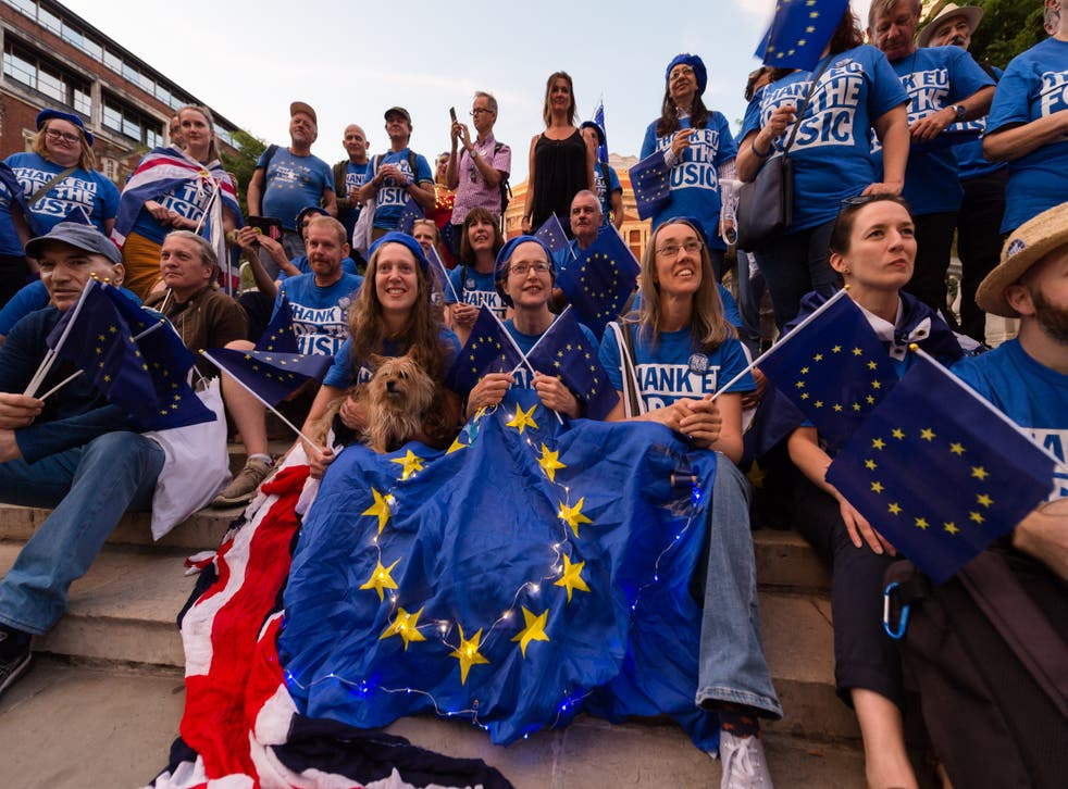 <p>Anti-Brexit demonstrators at the last night of the proms </p>