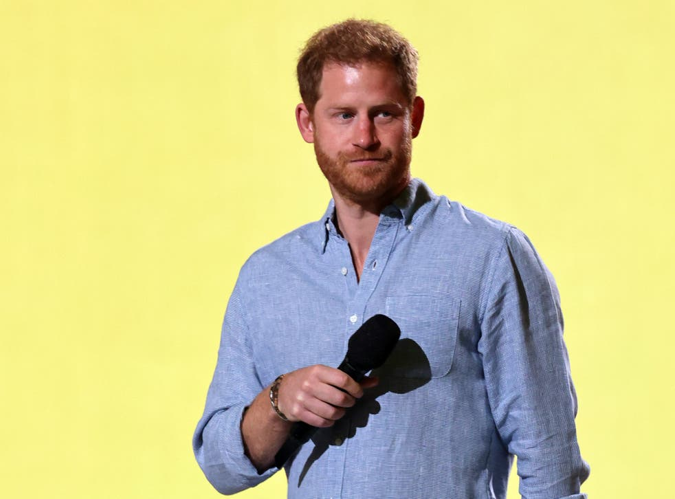 <p>Prince Harry during the Global Citizen Vax Live concert in May</p>