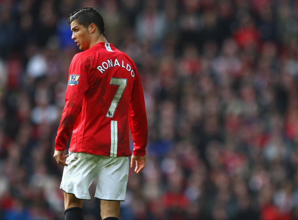 <p>Cristiano Ronaldo, playing for Manchester United in 2009</p>