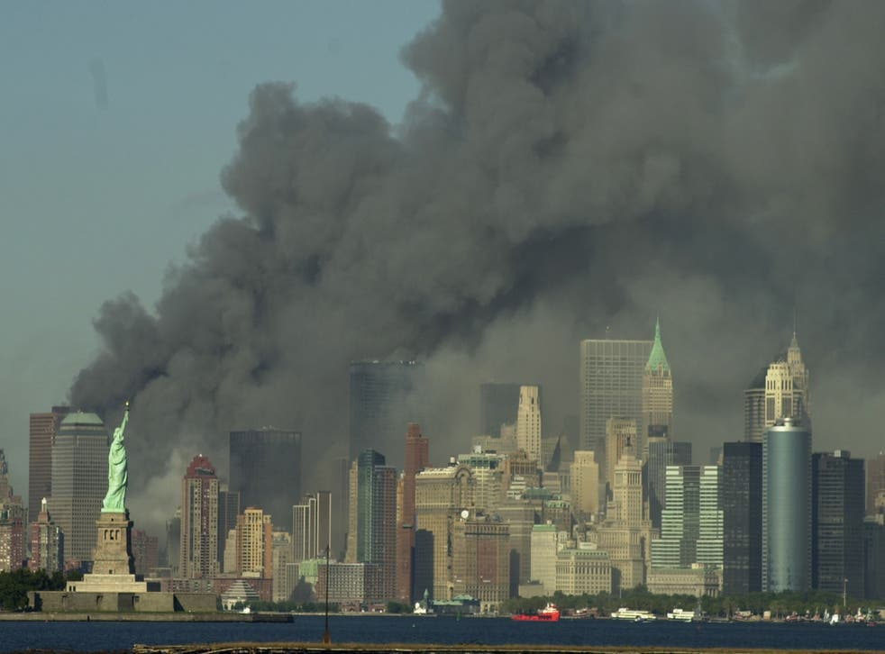 <p>Thick smoke billows into the sky from where the World Trade Center towers stood on 11 September 2001</p>