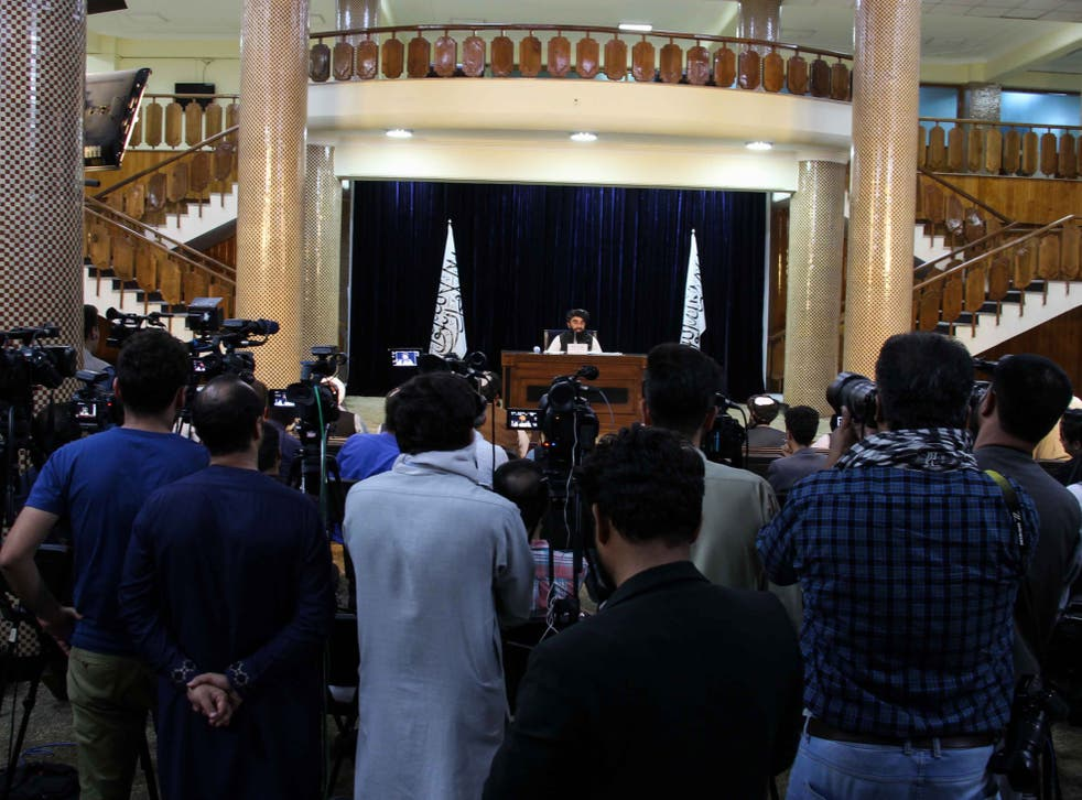<p>Zabhiullah Mujahid, the Taliban spokesperson, makes the announcement in Kabul on Tuesday </p>