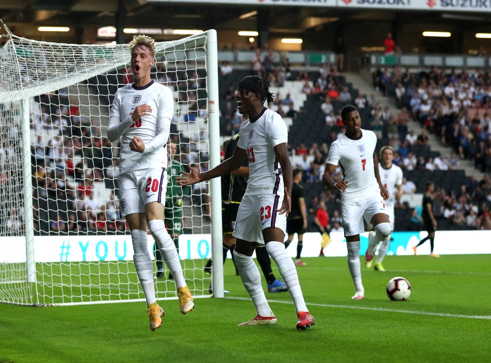 Cole Palmer celebrates his debut goal for England Under-21s (Bradley Collyer/PA).