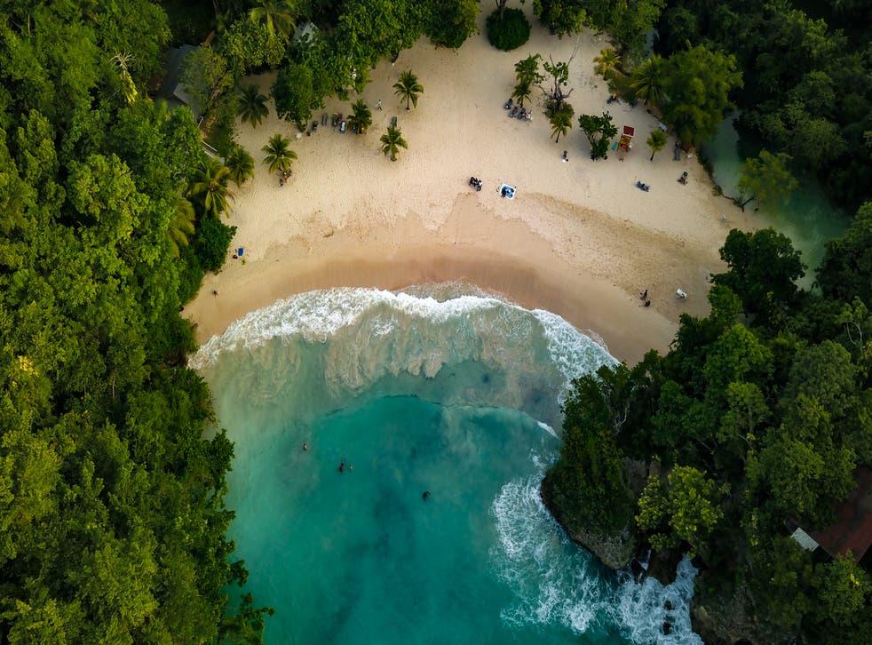 <p>An aerial shot of Port Antonio, Jamaica</p>