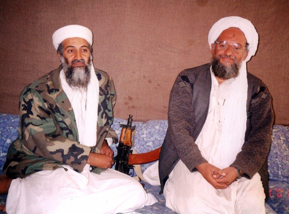 <p>Bin Laden with advisor Ayman Al-Zawahiri</p>