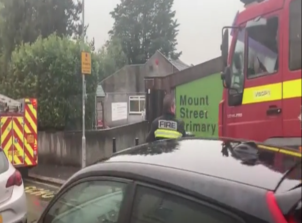 <p>Devon and Somerset Fire and Rescue Service attends Mount Street Primary School in Plymouth after a lightning strike</p>