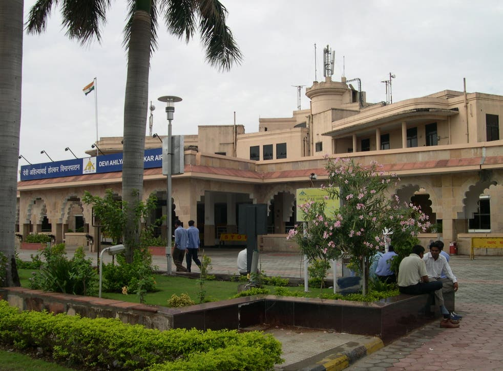 <p>File image: The woman was eventually asked to leave the remains with a friend at Indore's Devi Ahilyabai Holkar Airport (pictured)</p>